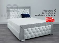 Chelsea Glitter Fabric Upholstered Storage Bed Single Double King Size