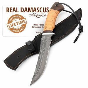 Hunting Damascus Steel Blade Knife Stone Pattern Fullers Birchbark Handle Force