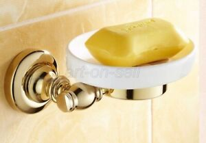 Bathroom Accessory Wall Mounted Gold Color Brass Soap Ceramic Dish Holder aba141