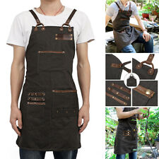 Stylish Canvas Work Shop Apron For Men Women with Tool Pockets Cross-Back Strap