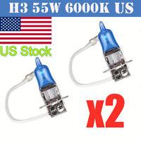 2PCS H3 12V 55W Super Bright White Halogen Head Light Lamp Bulbs Auto Car New