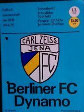 Carl Zeiss Jena - Berliner FC Dynamo / BFC DDR-Oberliga 1974/75 Programm