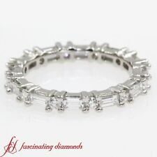 1.25 Carat Round Cut And Baguette Diamond Eternity Anniversary Band In Platinum