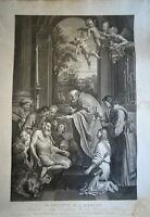 Domenico ZAMPIERI (1581-1641) IMMENSE GRAVURE COMMUNION SAINT JÉRÔME ROME ITALIE
