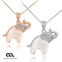 süße Damen Halskette Kette Anhänger Elefant vergoldet Zirkonia Geschenk Autiga®
