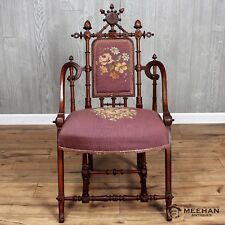 Very Rare Signed Hunzinger Needlepoint Walnut Chair