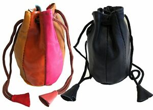 2pc Pair Soft Lambskin Leather Coin Purse Change Jewelry Bags Drawstring Closure