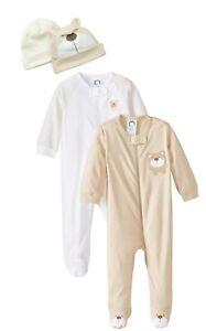 Gerber Unisex-Baby Newborn Bear 4 Pack Essentials Sleep N Play and Caps Bundle