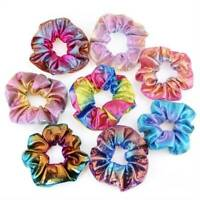 8Pcs Shiny Metallic Hair Scrunchies Ponytail Holder Elastic Hair Ties Band Girls