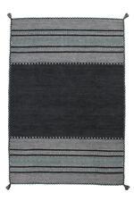 Teppich Handgewebt 100% Baumwolle Teppiche Flachflor Antik-Look Grau