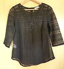 Matalan Ladies Top Blouse 12 Black Lace Smart Casual Summer Holiday (ue)