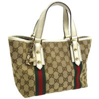 Auth GUCCI Shelly Line GG Hand Tote Bag Beige White Canvas Leather NR11826