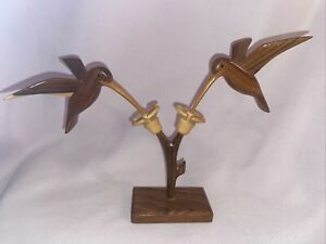 "Multi-wood Carved Hummingbird Wood Art Flowers 6.75"" Tall X 9"" Wide"