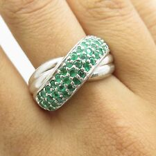 CNA 925 Sterling Silver Real Emerald Gemstones Womens Crossover Wide Ring Size 8