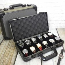 Watch Case Gunmetal Aluminum Briefcase 12 Large Watches (Fits Cases up to 58mm)