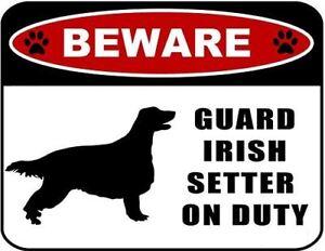 Beware Guard Irish Setter (silhouette) on Duty Laminated Dog Sign