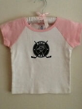 Hockey Rink Rat baby/toddler girl raglan white tee with pink sleeves, Brand New!