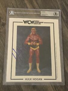 HULK HOGAN SIGNED AUTOGRAPHED 8X10 WCW PROMO PHOTO BECKETT BAS SLABBED