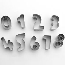 9PCS Metal Number Graphic Pattern Cookie Cutters Tool Shapes Cake Pastry Mold