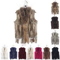 Women Real Casual Knitted Rabbit Fur Vest Tassel Fur Trim Collar Waistcoat Gilet