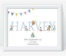 Personalised Peter Rabbit Baby Boy Name Christening Birth Print Gift