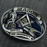 Vintage Freemason Masonic Western Cowboy Men's Fashion Belt Buckle Alloy Metal