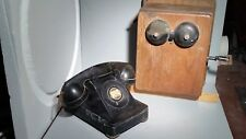 Antique BELL SYSTEM Telephone and Wooden WORKING CRANK RINGER BOX