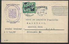 Czechoslovakia, Postcard with postage due 1927