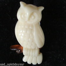 Avon OWL Scatter Pin Bird on Branch Brooch Creamy Lucite Tack Back VTG 1980s