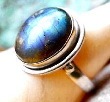 Silberring 59 Solitär 2cm Modern Labradorit Handarbeit Blau Silber Ring Schlicht