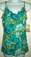 NEW! Lei Womens Cami Size Juniors XL Blue Green Floral Spaghetti Strap Summer