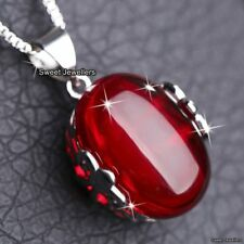 Red Stone Pendant Necklace Chalcedony Xmas Jewellery Gift For Her Wife Mum Women