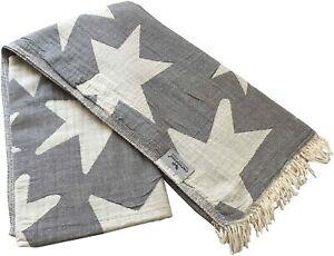 Hamam Cloth Star Grey White Beach Towel Pareo Sauna Towel 90x175cm 100% Cotton