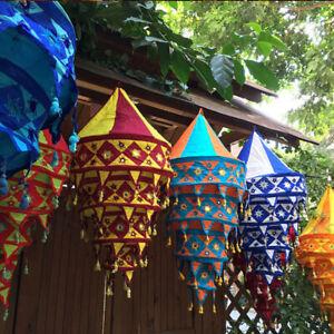 Hanging Fabric Lantern Lamp Light Shade Lampshade Tasseled Asian Handmade Decor