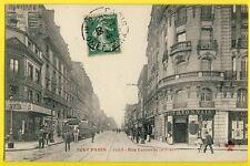 cpa Vue Rare PARIS Rue LECOURBE prise du Bd GARIBALDI Attelage Roulotte Banque