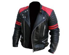 Hombre Brando Rojo y Negro Diseño Clásico Moto Biker Chaqueta de Piel Auténtica