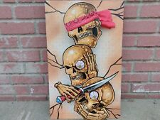 Original 3D painting/sculpture skull see no evil tattoo three oldschool witty