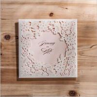 White Personalised Laser Cut Wedding Day Evening Invitation Free P&P Envelopes
