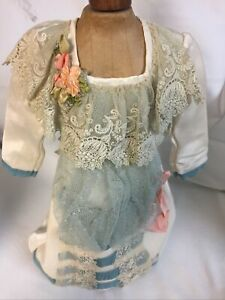 "French Blue Netting Dress Made By Mary Lambeth For 24"" Antique Doll With Bonnet"