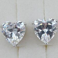 Nice White Sweet Heart CZ Gems Jewelry Gold Filled Woman Stud Earrings H1099