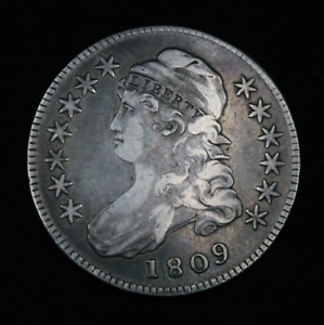 1809 Capped Bust Silver Half Dollar Lettered Edge 89.24% Silver Old US Coin 50C