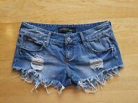 Billabong Women's Shorts Denim Distressed Blue Cut Off Raw Hem Size 12