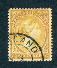 Falkland Islands 1891 QV. 6d orange yellow. Used. WATERMARK REVERSED. SG 33x.