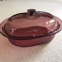 CORNING PYREX Visions 4 Qt. Oval Covered Casserole Dish Roaster Cranberry V-34-B