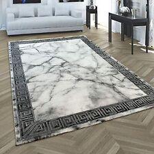 High Quality Designer Rug Luxury Grey Marble Effect Carpet Stylish Border Mats