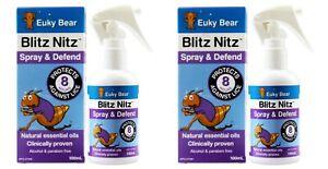 2 x EUKY BEAR 100mL BLITZ NITZ SPRAY DEFEND PROTECTS AGAINST LICE 100% BRAND NEW