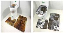 3Pcs Set Bathroom Non-Slip Tiger Leopard Pedestal Rug+Lid Toilet Cover+Bath Mat