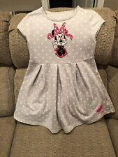 DISNEY PARKS Minnie Mouse Girl Sz M (10) Dress Gray Polka Dots Disneyland