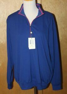 NEW Donald Ross Golf men's MEDIUM Fairway Pullover Shirt 1/4 zip Navy Blue