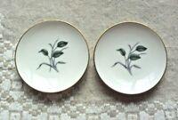 "Wedgwood bone china, set of 2, mini 3 1/4"" plates, gold trim, leaves grass"